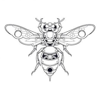 Mechanisch bijenillustratie en t-shirtontwerp