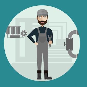 Mechanische bouw industriële fabrieksarbeider.
