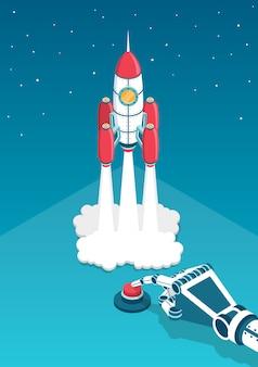 Mechanische hand drukt een vinger op de rode knop en de raket start