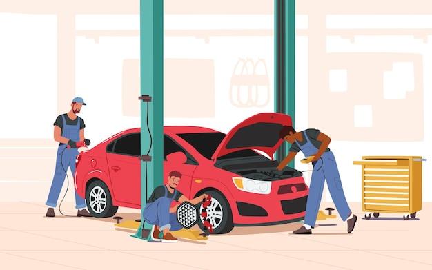 Mechanische karakters in blauwe overall staan in de buurt van kapotte auto met open motorkap die instrumenten vasthoudt, werknemers die auto repareren, controleren en onderhouden, stadsreparatieservice. cartoon mensen vectorillustratie