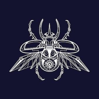 Mechanische mannelijke atlas kever illustratie, tatoeage en t-shirt design