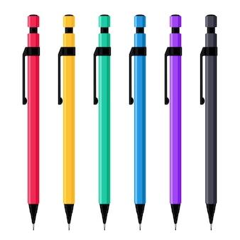 Mechanische potloden in kleurrijke plastic gevallen set. schrijven en tekenen tools collectie. platte vectorillustratie geïsoleerd op een witte achtergrond