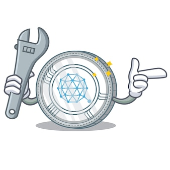 Mechanische qtum munt karakter cartoon