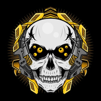 Mechanische schedel met gouden ogen gedetailleerd vectorontwerpconcept