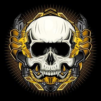 Mechanische schedel met gouden pantser gedetailleerd vectorconcept