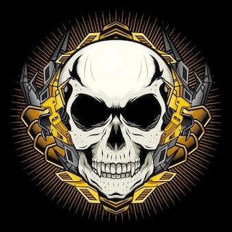 Mechanische schedel met gouden pantserillustratie gedetailleerd vectorconcept