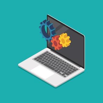 Mechanische versnellingen op laptop scherm isometrische weergave. vector illustratie