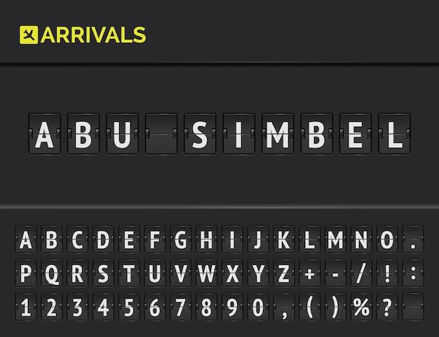 Mechanische vlucht bord met vector flip luchthaven terminal board lettertype