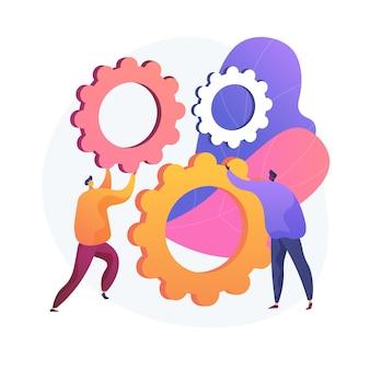 Mechanisme van teamwerk. stripfiguren draaien tandwielen samen. coworking, samenwerking, partnerschap. teambuilding en samenwerkingstechnologie.