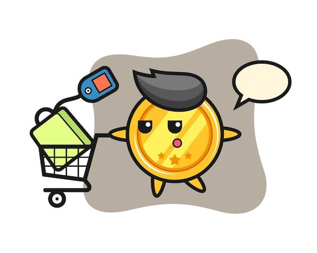 Medaille cartoon met een winkelwagentje