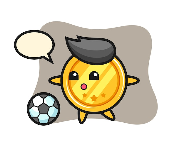 Medaille cartoon speelt voetbal