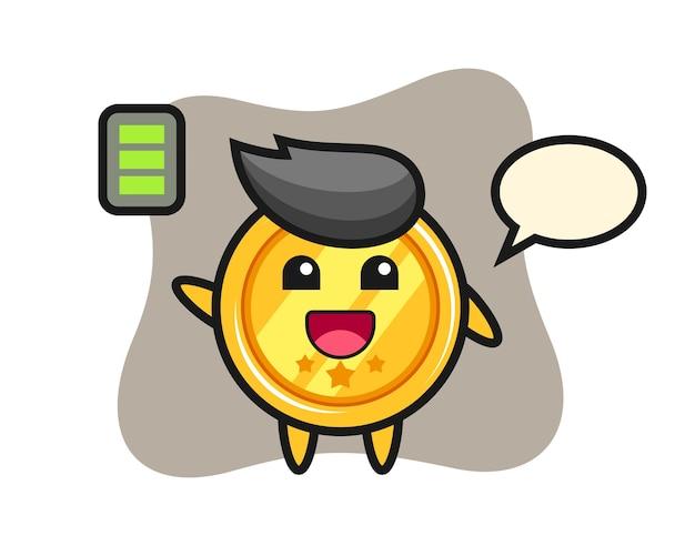 Medaille mascotte karakter met energiek gebaar