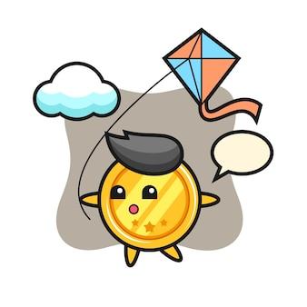 Medaille-mascotte speelt vlieger