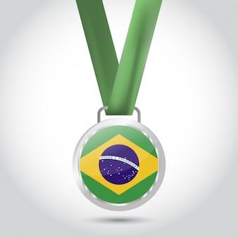 Medaille met vlag van brazilië