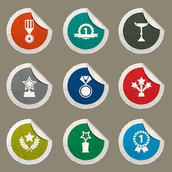 Medailles en trofeeën pictogrammen ingesteld voor websites en gebruikersinterface