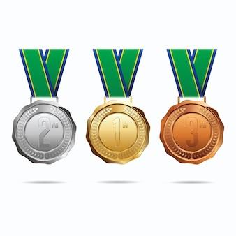Medailles met illustratie van het lint
