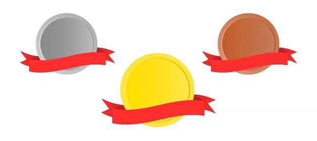 Medailles met rood lint.