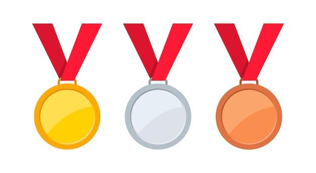 Medailles van goud, zilver en brons met rood lint.