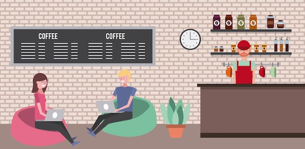 Medewerker van een koffiewinkel en een stel op gevoerde ontlasting