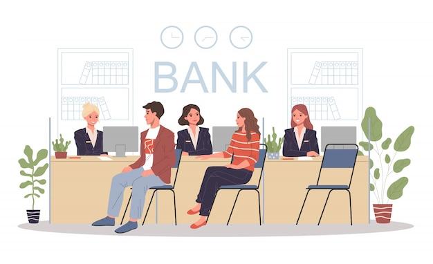 Medewerkers bankkantoor