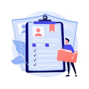 Medewerkers cv, kandidaten hervatten. bedrijfsmedewerkers, studenten-id isoleren plat ontwerpelement. sollicitaties, avatars, persoonlijke informatie concept illustratie