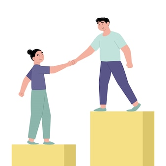 Medewerkers die handen geven en collega's helpen om omhoog te lopen