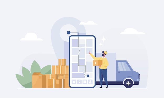 Medewerkers leveren goederen met de auto aan klanten op een mobiele app voor het volgen van de bestelling. vector illustratie
