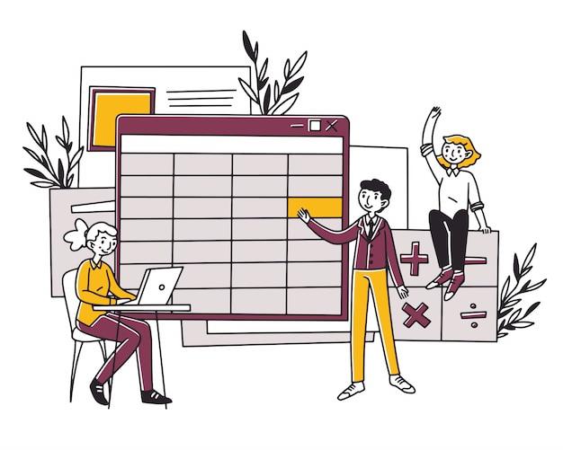 Medewerkers maken bedrijfsboekhoudingsrapport