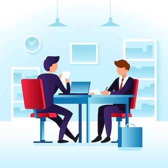 Medewerkers van contender en sollicitatiegesprek