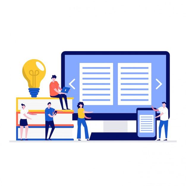 Media boek bibliotheek illustratie concept met karakters.