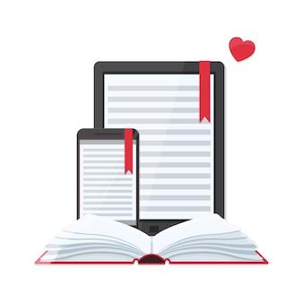 Media boek bibliotheekconcept. e-book, e-learning online, archief van boekenconcept.