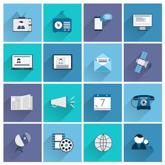 Media communicatie pictogrammen vlakke reeks van het posten van bevordering sociale marketing geïsoleerde vectorillustratie