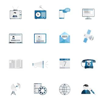 Media communicatie pictogrammen vlakke reeks van tv-radio blog internet nieuws geïsoleerde vectorillustratie