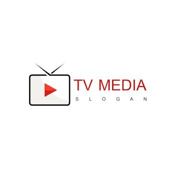 Media- en tv-logo-ontwerpvector