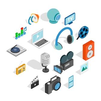 Media iconen set, isometrische 3d-stijl