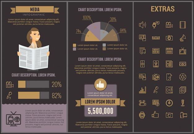 Media infographic sjabloon, elementen en pictogrammen