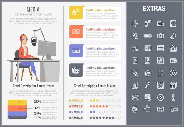 Media infographic sjabloon, elementen en pictogrammen