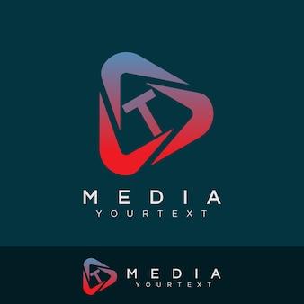 Media initiaal letter t logo ontwerp