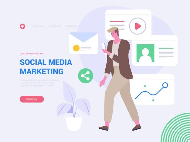 Media marketing bestemmingspagina vector sjabloon. productpromotie website homepage interface idee met platte illustraties. social media communicatie en netwerken webbanner cartoon concept