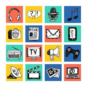Media nieuwsinformatiedienst die televisiepictogrammen uitzendt geplaatst gekleurde geïsoleerde vectorillustratie