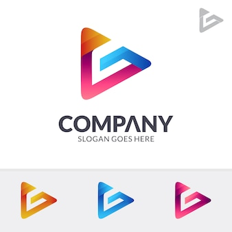 Media play letter g-logo