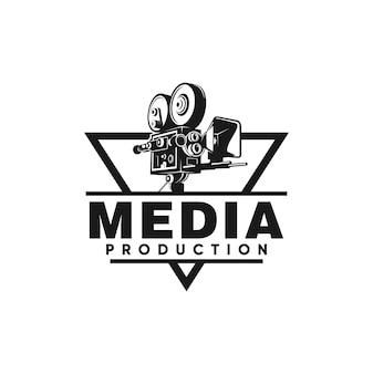 Media productie logo ontwerp camera vector