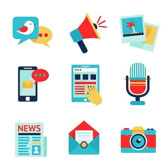 Media sociale communicatie netwerk icoon set geïsoleerde vector illustratie