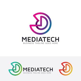 Media tech vector logo sjabloon