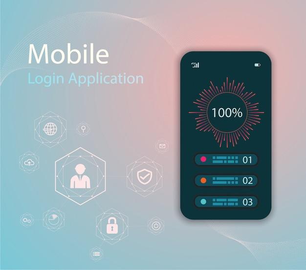 Media technologieillustratie met mobiele telefoon en pictogrammen.