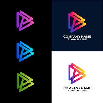 Media triangle uniek logo-ontwerp