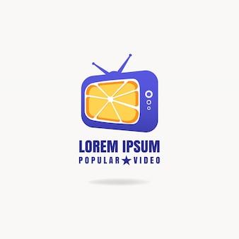 Media vector televisie logo ontwerp