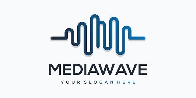 Media wave player-element met pulse-logosjabloon