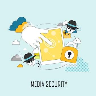 Mediabeveiligingsconcept: tafel- en infodief in lijnstijl