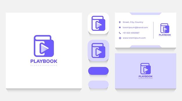 Mediaboeken en play-logosjabloon en visitekaartje